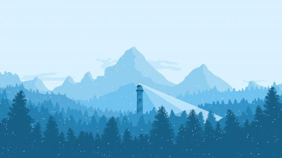 Lighthouse in the mountains wallpaper