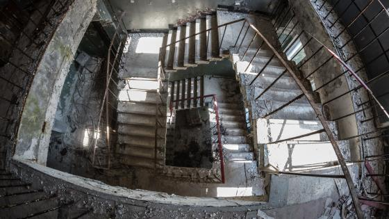 Abandoned staircase in Chernobyl wallpaper
