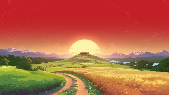 Beutiful sunset - Fantasy art wallpaper