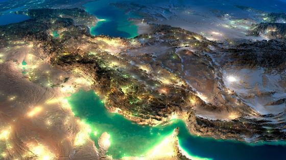 Iran from space at night wallpaper