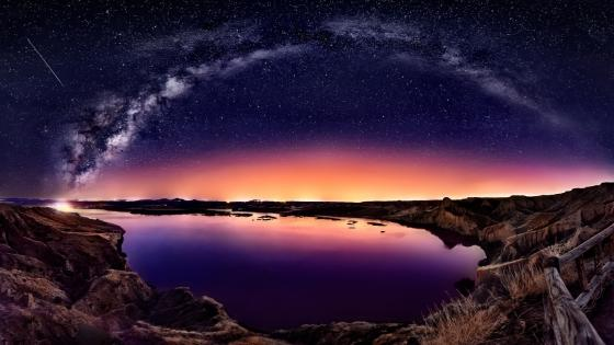 Milky way above the lake wallpaper