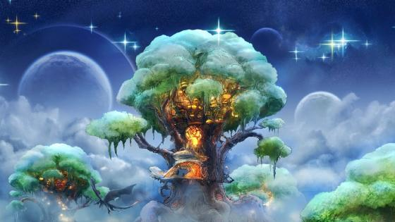 Magic tree among the clouds wallpaper