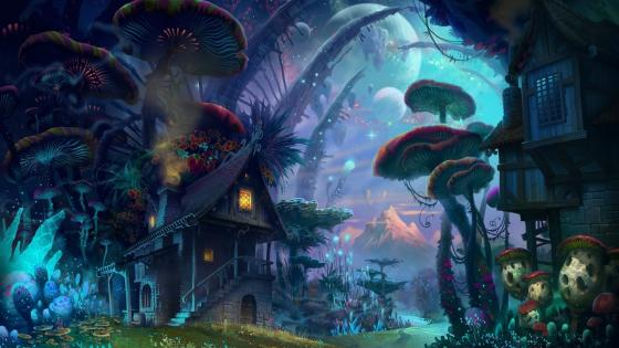 Magical forest houses wallpaper