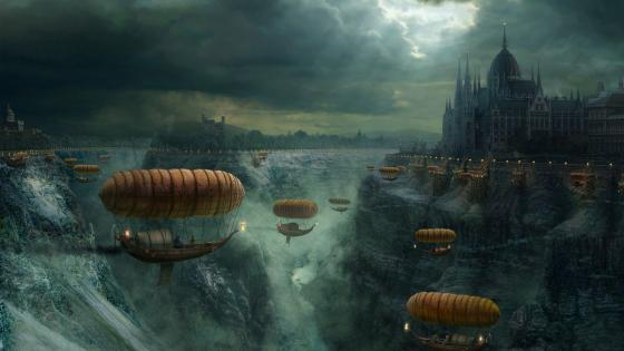 Steampunk fantasy world with airships wallpaper