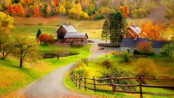 Beautiful autumn farm scenery wallpaper
