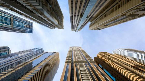 Low-Angle Shot of Supertall Skyscrapers wallpaper