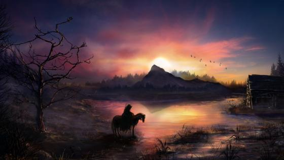 Wayfarer on horse wallpaper