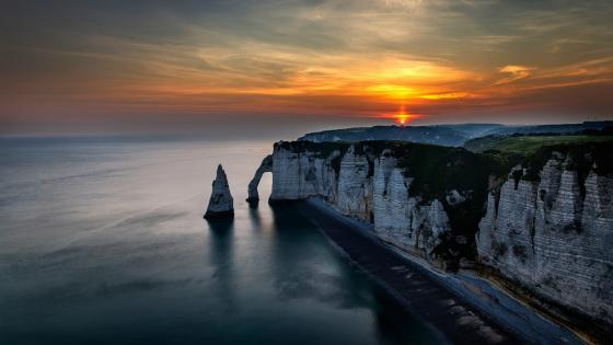 The Aval Cliff at sunset wallpaper