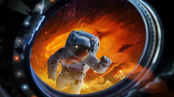 Astronaut in deep space wallpaper