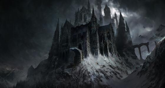 Dark gothic castle fantasy art wallpaper