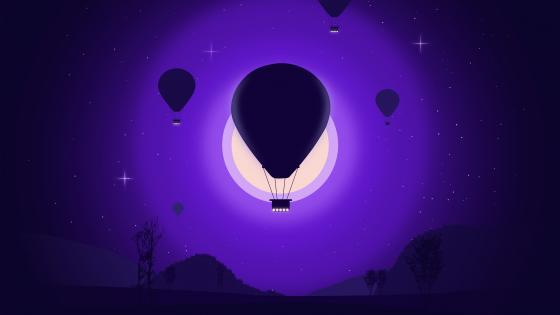 Air balloon in the moonlight minimal landscape wallpaper