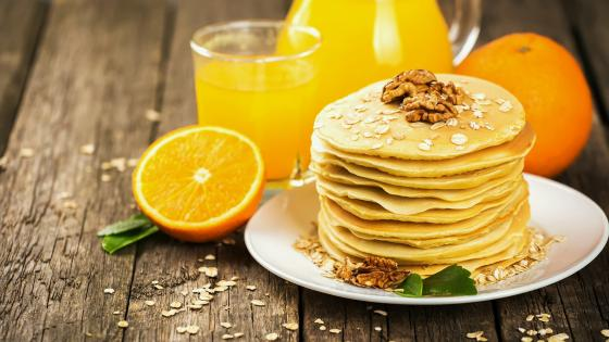 American pancakes with orange juice wallpaper