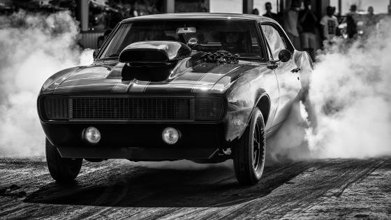 Chevrolet Camaro black and white photo wallpaper