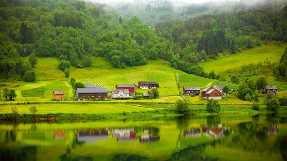Norwegian countryside wallpaper