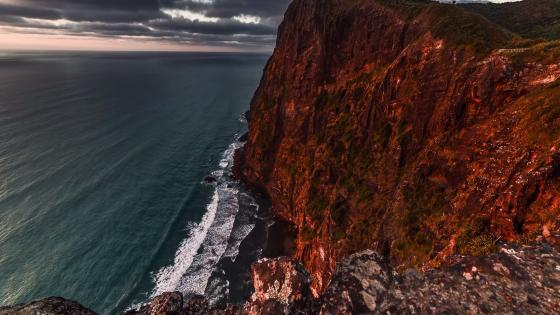 Sea cliff in New Zealand wallpaper