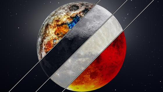 4 moon picture in one wallpaper