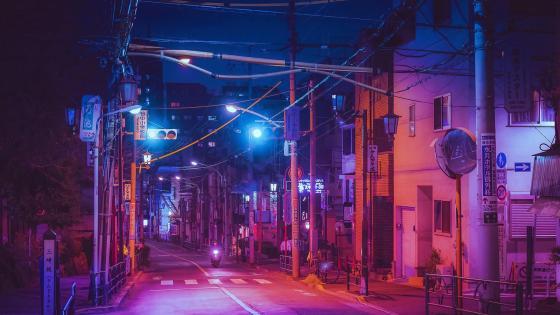A night street in Japan wallpaper