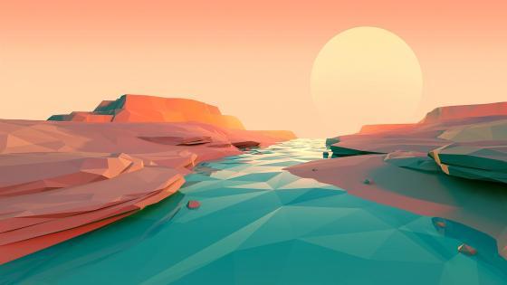 Low-poly landscape wallpaper