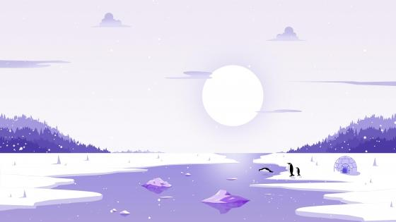 Minimal arctic landscape with penguins wallpaper