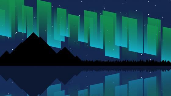 Night landscape reflection minimal art wallpaper