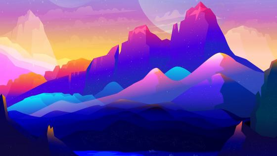 Purple mountains digital illustration wallpaper