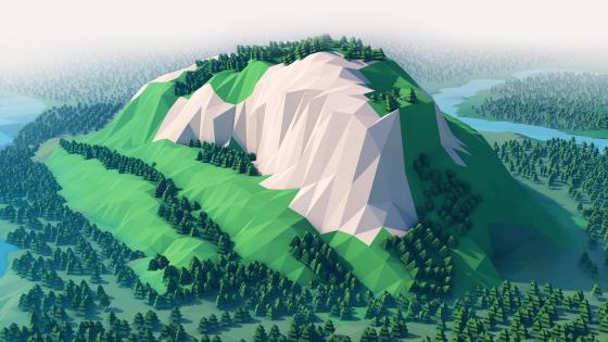 Green low-poly landscape wallpaper