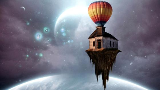 A suspended house in the universe wallpaper