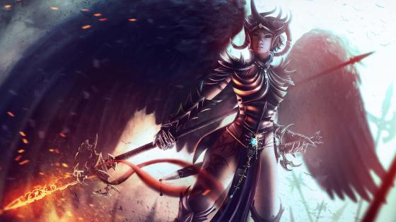 Black-winged warrior woman wallpaper