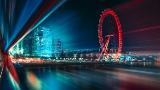 London Eye at night long exposure photography wallpaper