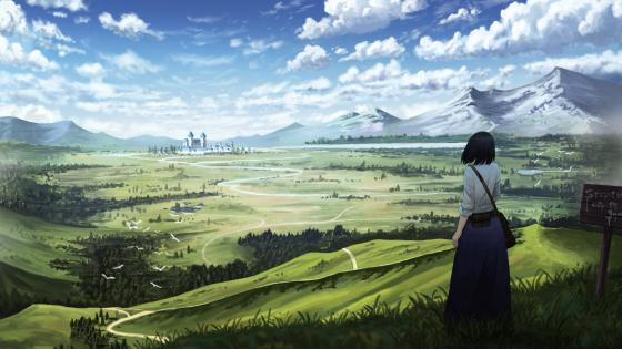 Castle in the distance anime landscape wallpaper