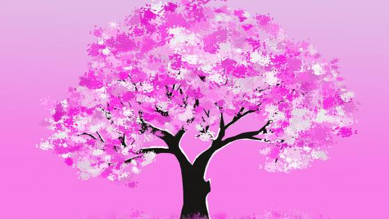Pink tree wallpaper