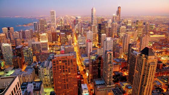 Chicago nightscape wallpaper