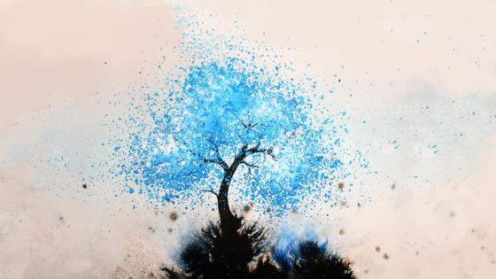 Blue tree abstract art wallpaper