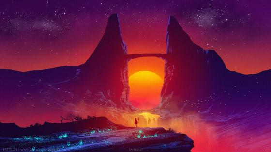 Synthwave sunset landscape wallpaper