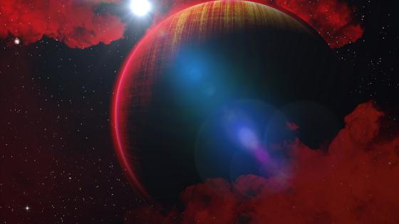 Fantasy planet with red clouds wallpaper