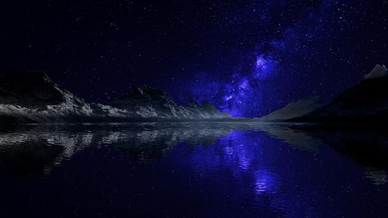 Blue Milky Way reflected wallpaper