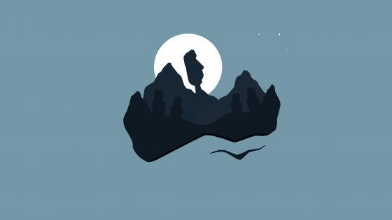 Moai statues at night minimal art wallpaper