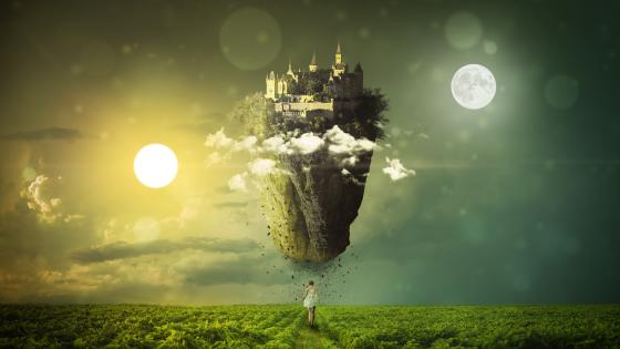 Floating castle wallpaper