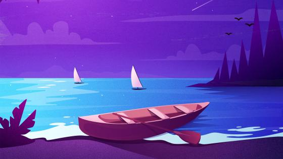 Purple night minimal seascape wallpaper