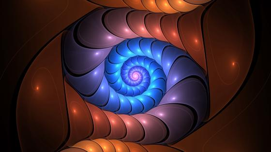 Colorful nautilus fractal wallpaper