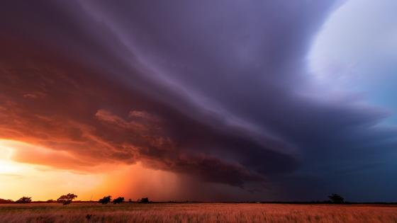 Stormy weather above the prairie wallpaper