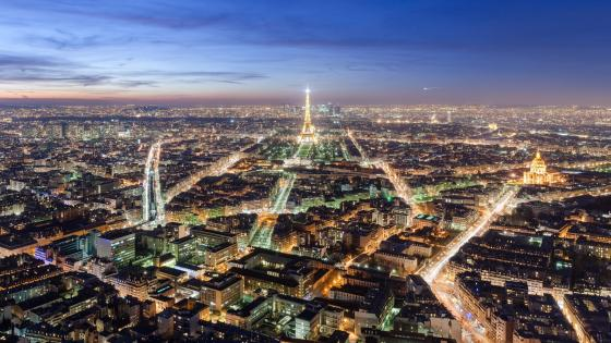 Panorama of Paris at Night wallpaper