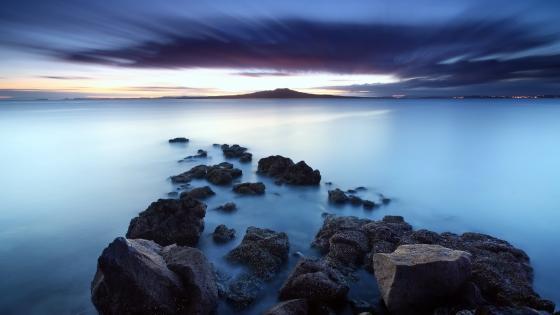 Coastal rocks in the blue hour wallpaper