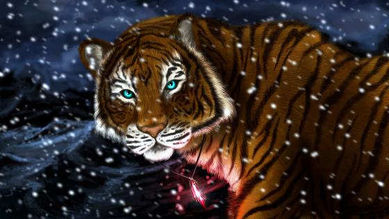 Tiger with glowing red medal wallpaper