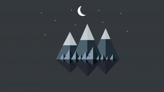 Mountains at night minimal landscape wallpaper