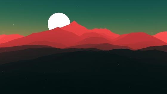 Mountains at full moon minimal landscape wallpaper