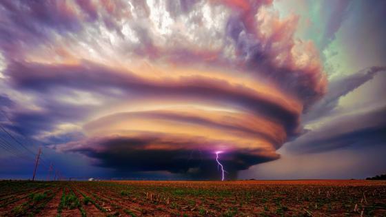 Tornado with lightning wallpaper