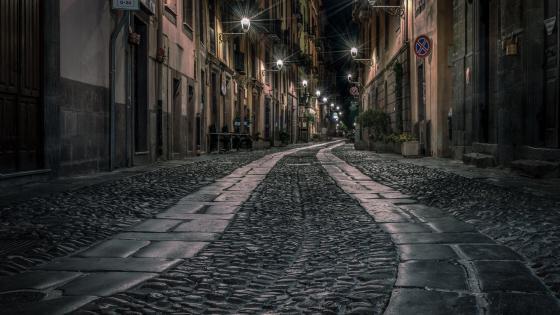 Night street in Bosa wallpaper