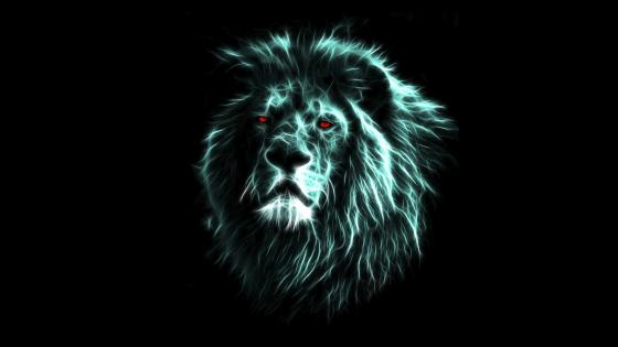 Demonic lion with red eyes wallpaper