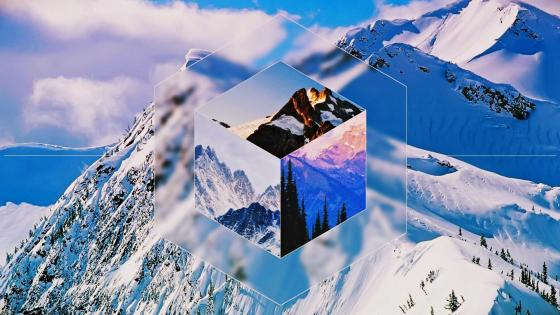 Snowy Mountains in cube wallpaper